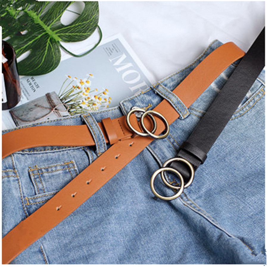 2019 Luxury Fashion Korean Round Buckle Belt Women Casual Belt Ladies Jeans With Fashion Dress Belt Belts For Women Pants