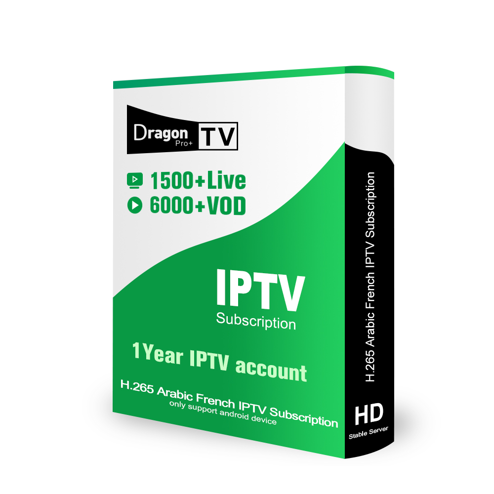 Купить с кэшбэком Dragon TV Pro Plus IPTV with H.265 Channels Best France Arabic IPTV Subscription 1500+ Live 6000+ VOD 1 Year For Android TV BOX