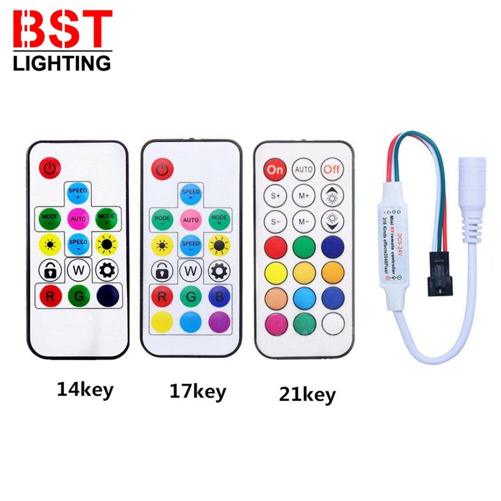 RF 14/17/21Keys USB/DC LED Pixel Strip Light Controller For WS2811 WS2812B SK6812 1903 With Remote Controller DC5-24V