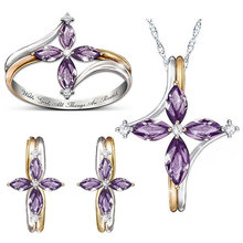 Fashion Purple Crystal Ring Earrings Necklace for Women Dainty Gold Silver Color Bridal Jewelry Sets Statement Wedding Jewelry top women christmas gifts flower shape bridal jewelry accessories gold necklace crystal earrings italian jewelry sets