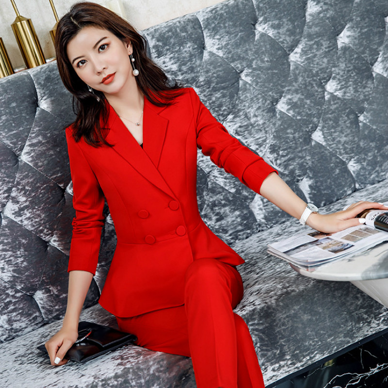 2019 Autumn Professional Women's Suit Pants Two Sets Temperament Slim Irregular Red Ladies Jacket Coat Wild Trousers Blazer
