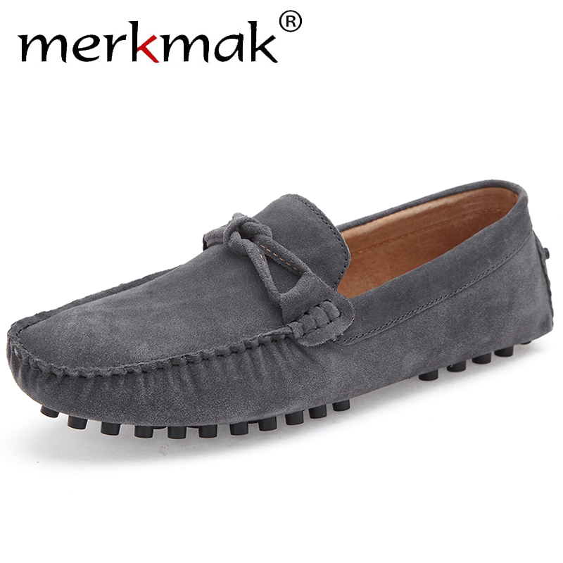 Merkmak Spring Suede Leather Men Shoes Bow-knot Casual Dress Shoes Men Slip On Breathable Non-slip Sole Loafers Man Size 38-46
