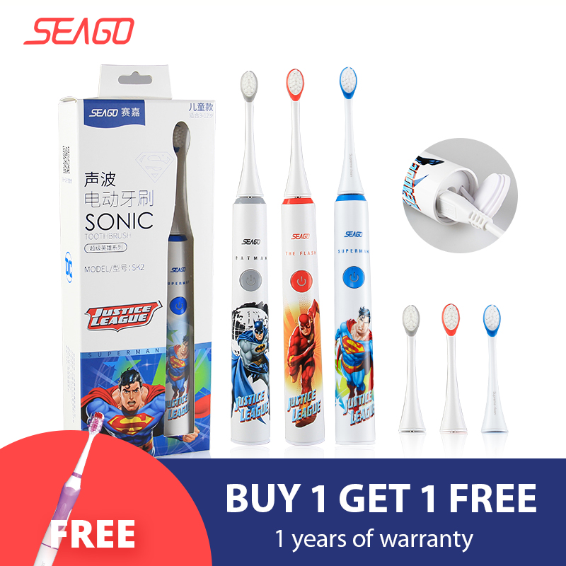 SEAGO Electric Toothbrush Safety Rechargeable Kid USB Ce with 2pcs Replacement Head-Sk2