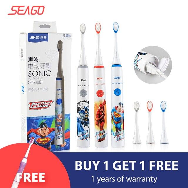 SEAGO Sonic электрическая зубная щетка усовершенствованная детская безопасная автоматическая зубная щетка USB перезаряжаемая с 2 шт. Сменная головка щетки SK2