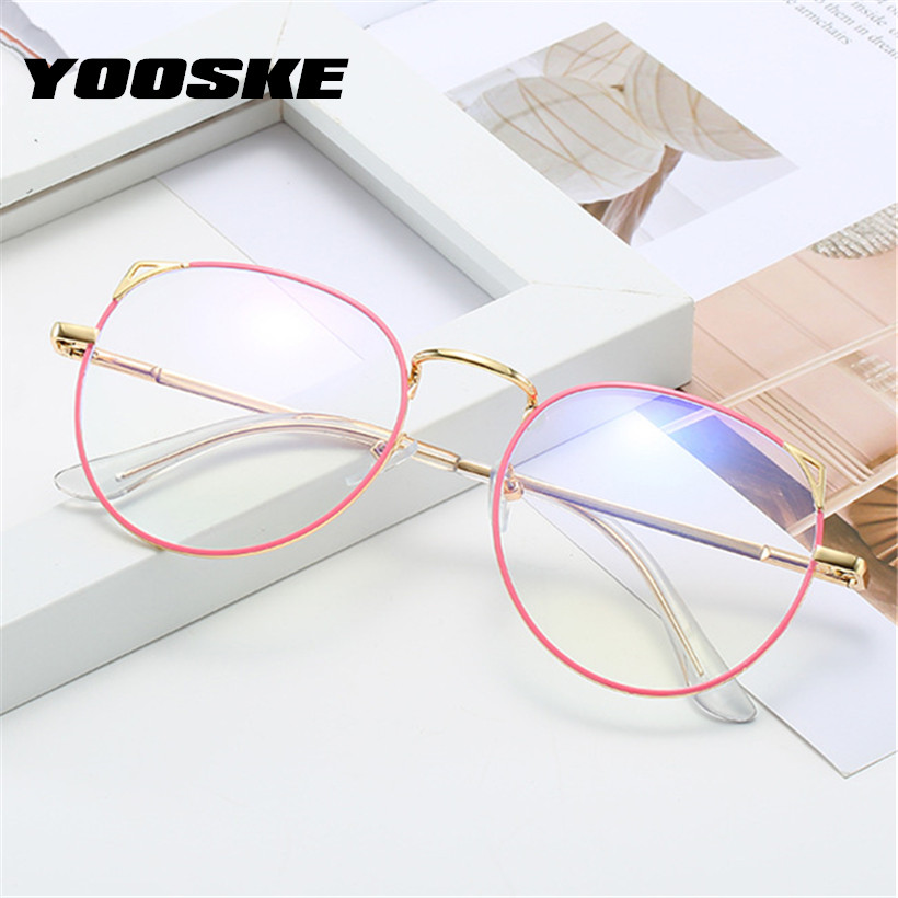 YOOSKE Cat Eye Metal Finished Myopia Glasses For Women Clear Spectacles Nearsighted Shortsighted With Diopter -0.5 1.0 To 4.0