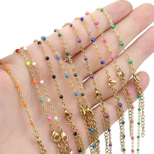 2mm wide 45+5cm Stainless Steel adjustable Enamel bead Chains Necklaces DIY Jewelry Cuban Womens