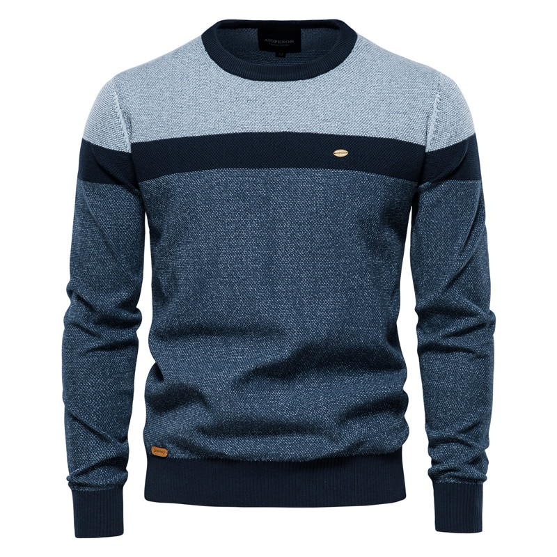 AIOPESON Spliced Cotton Sweater Men Casual O-neck High Quality Pullover Knitted Sweaters Male New Winter Brand Mens Sweaters