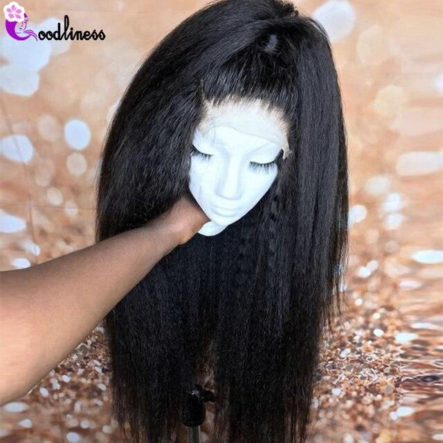 Perruque Lace front Wig crépus lisse brésilienne Remy | Cheveux naturels, nœuds décolorés, 13x6, perruque Lace Wig transparente, 150%