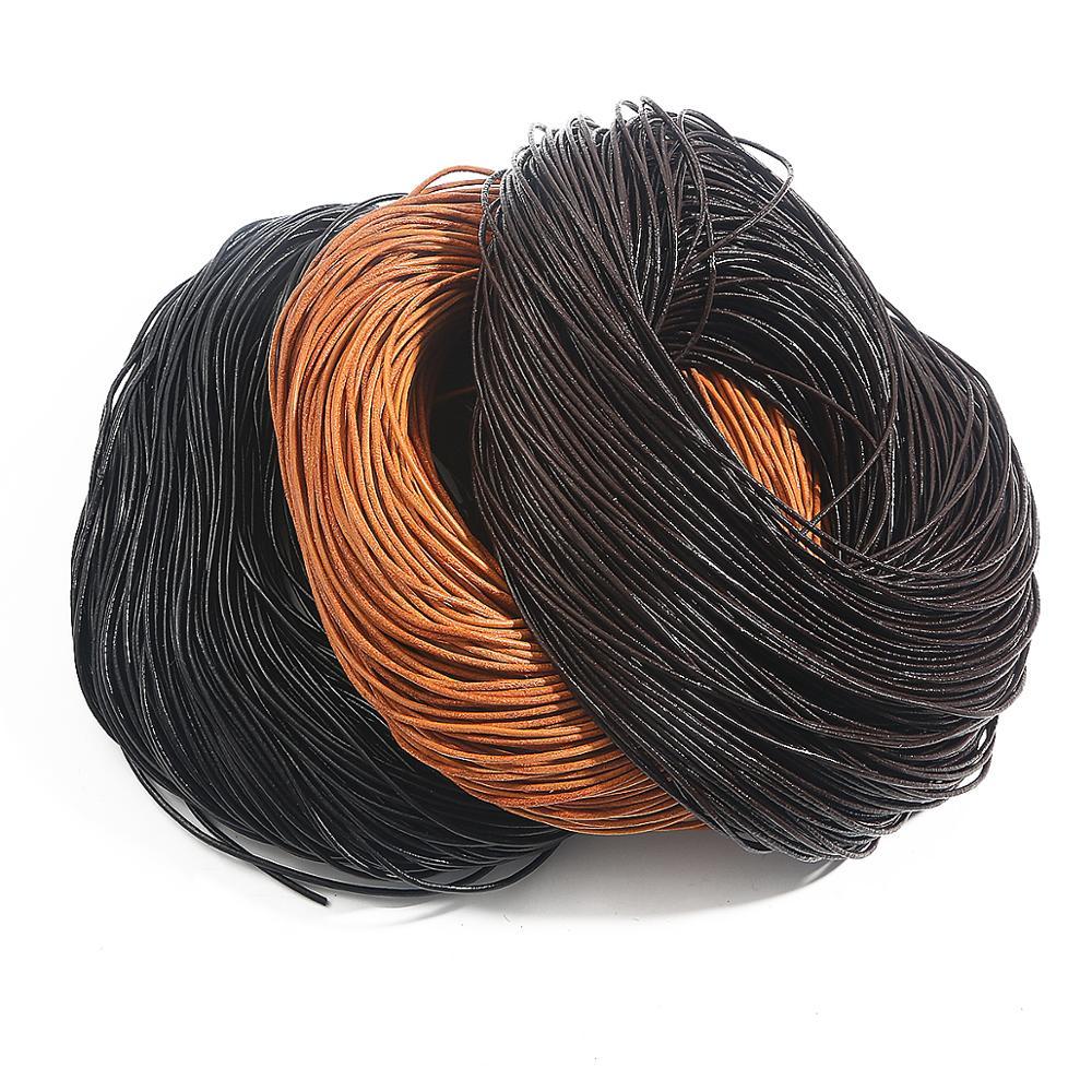 Круглая веревка из натуральной кожи, шнур, темно-коричневый/телесный/черный шнур для бисероплетения, веревка, ремешок для рукоделия, плетен...