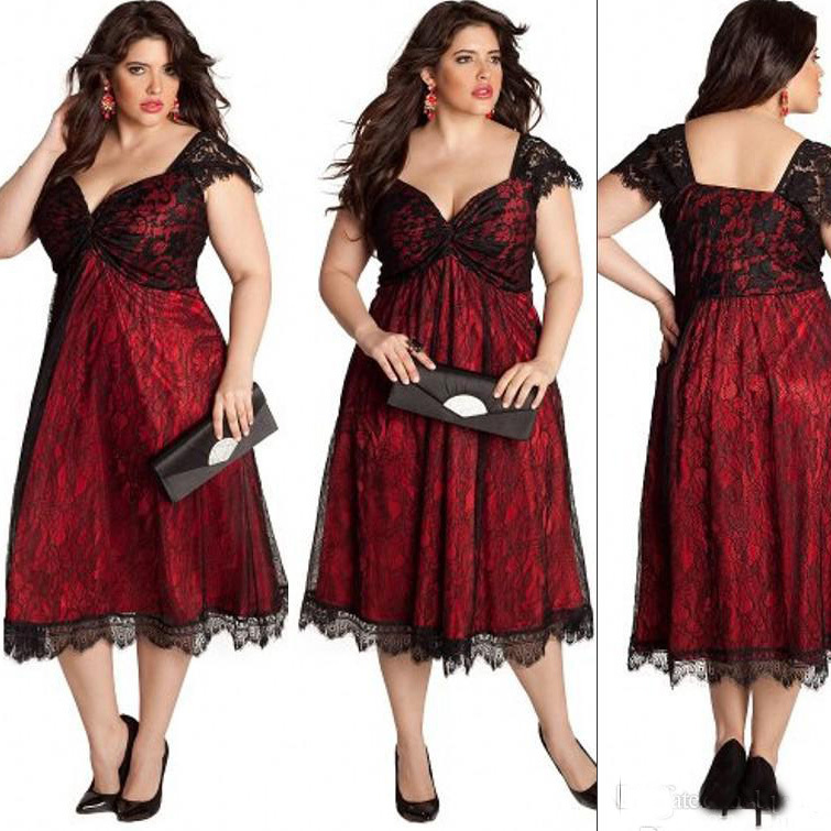 2015 Tea Length Plus Size Formal Dresses To Evening Party Gowns With Lace Sweetheart Vestidos De Madrina De Boda