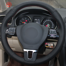 LQTENLEO الأسود الاصطناعي الجلود سيارة غطاء عجلة القيادة ل Volkswagen VW جول تيجوان باسات B7 باسات CC توران جيتا Mk6 MK5car steering wheel coversteering wheel coverwheel cover