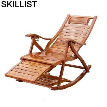 Silla Reclinable de bambú Plegable Para Sala de estar, sillón Moderno, Cama...