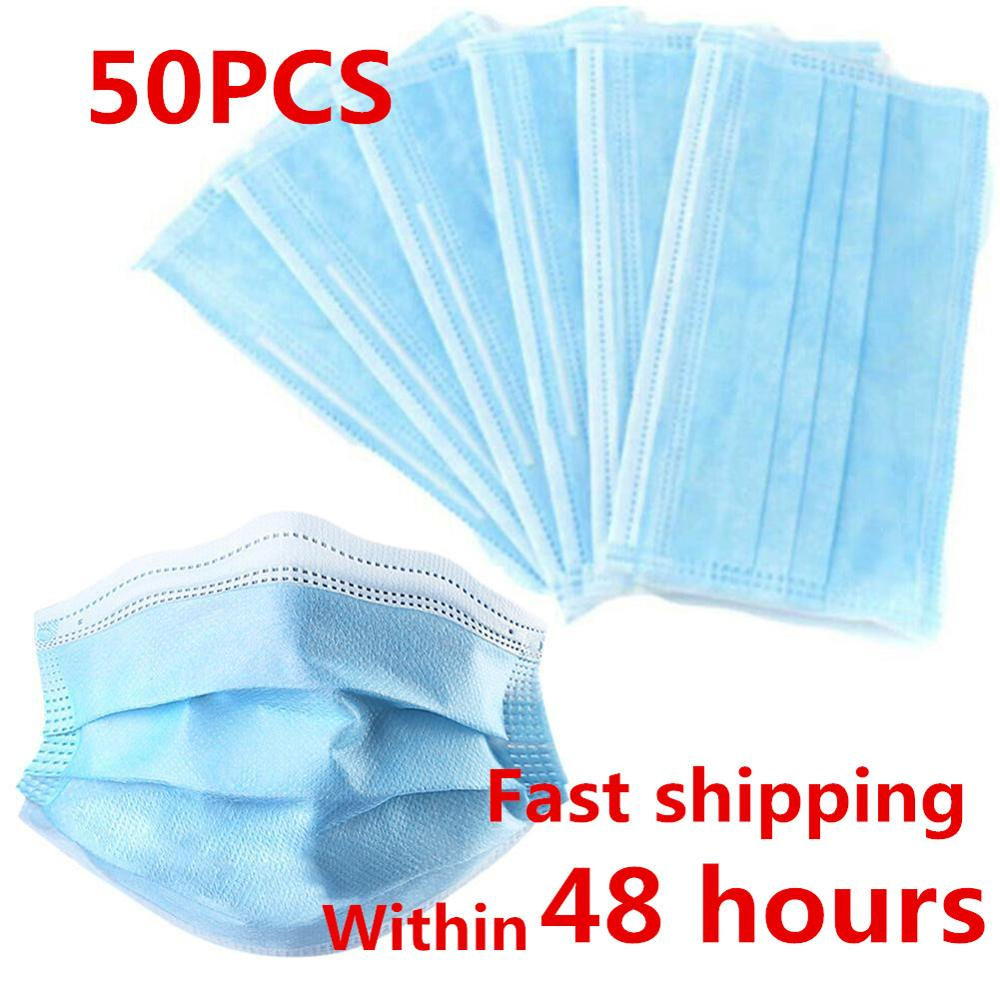 50pcs Nonwove 3 Layer Mask Disposable Mask Anti-Dust Mask Surgical Mask Earloop Masks Anti-dust Virus Safe