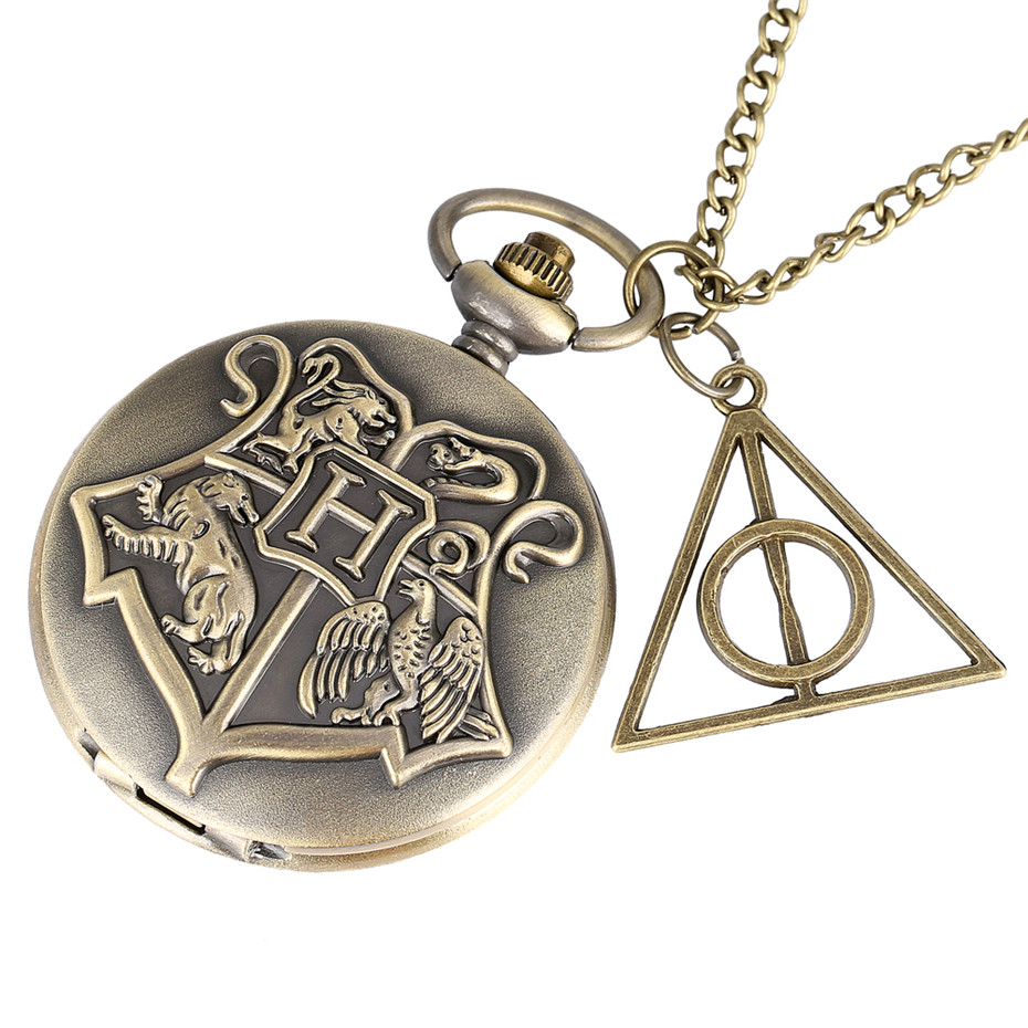Hogwarts School Theme Quartz Pocket Watch Pendant Necklace Pocket Watch Accessory Pendant Fob Chains Kids Xmas Gift For HP Fans
