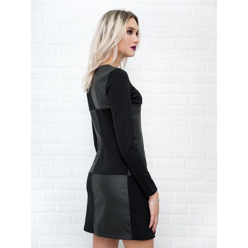 Vintage Leather Patchwork Elegant Office Dress 3