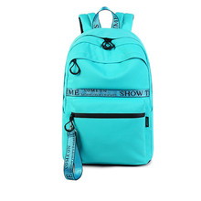 Waterproof Canvas Letter Ribbons Backpacks Women Large Capacity College School Bag for Teenagers Girls Bookbag