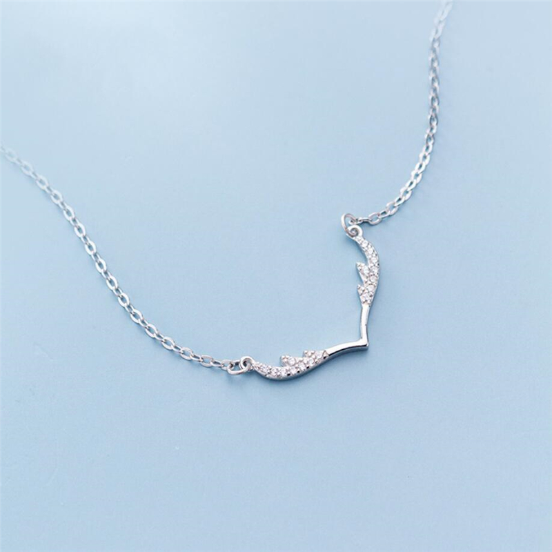 Sole Memory Zircon Antler Sweet Fresh 925 Sterling Silver Clavicle Chain Female Necklace SNE560