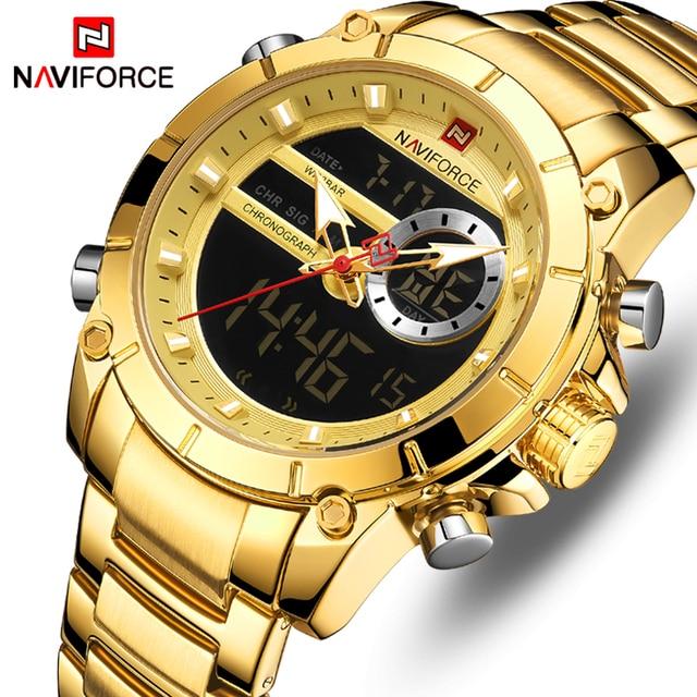 NAVIFORCE Männer Uhr Top Luxus Marke Mens Fashion Analog Digital Dual Display Uhren Männlichen Goldene Geschäfts Wasserdichte Armbanduhr-in Quarz-Uhren aus Uhren bei