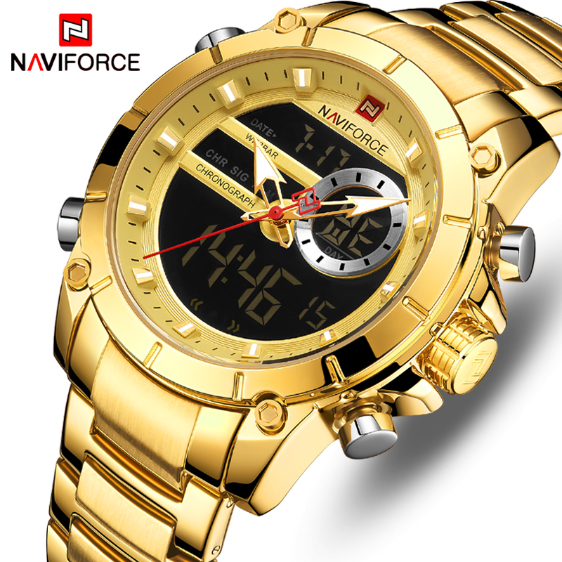 NAVIFORCE Men Watch Top Luxury Brand Mens Fashion Analog Digital Dual Display Watches Male Golden Business Waterproof Wristwatch|Quartz Watches| |  - title=