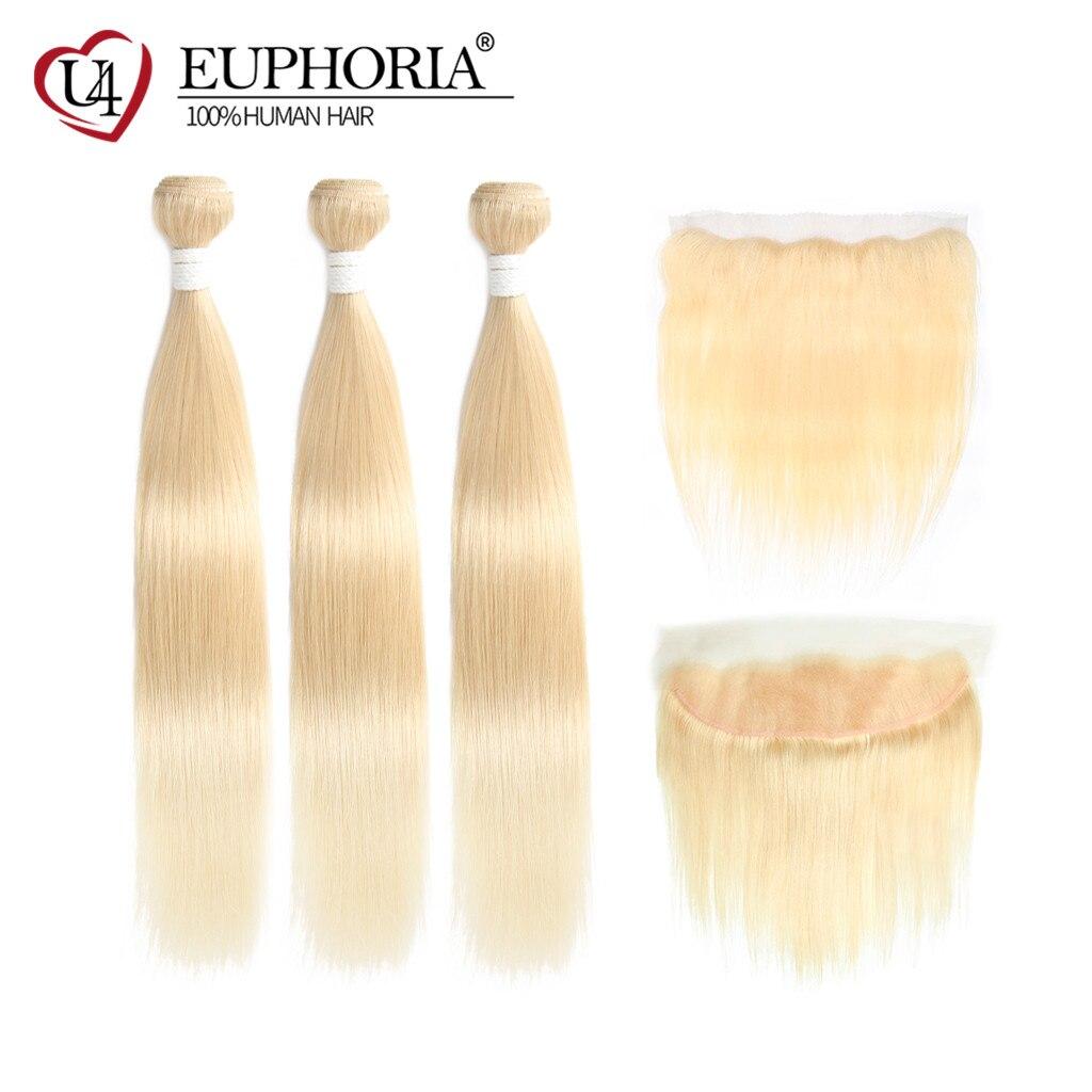613 Platina Loira Pacotes Com Frontal 13 3x4 Euforia Remy Cabelo Liso Brasileiro Tece 613 Pacotes Com Fecho cabelo humano