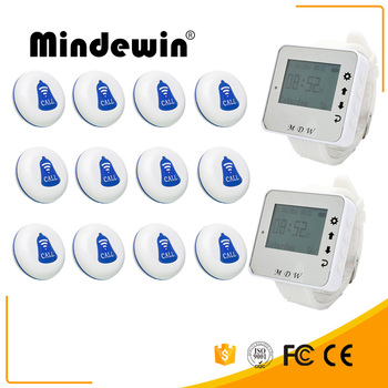 Mindewin Wireless Table Bell Restaurant Call Pager System 2PCS Wrist Watch Pager M-W-1 and 12PCS Table Call Button M-K-1