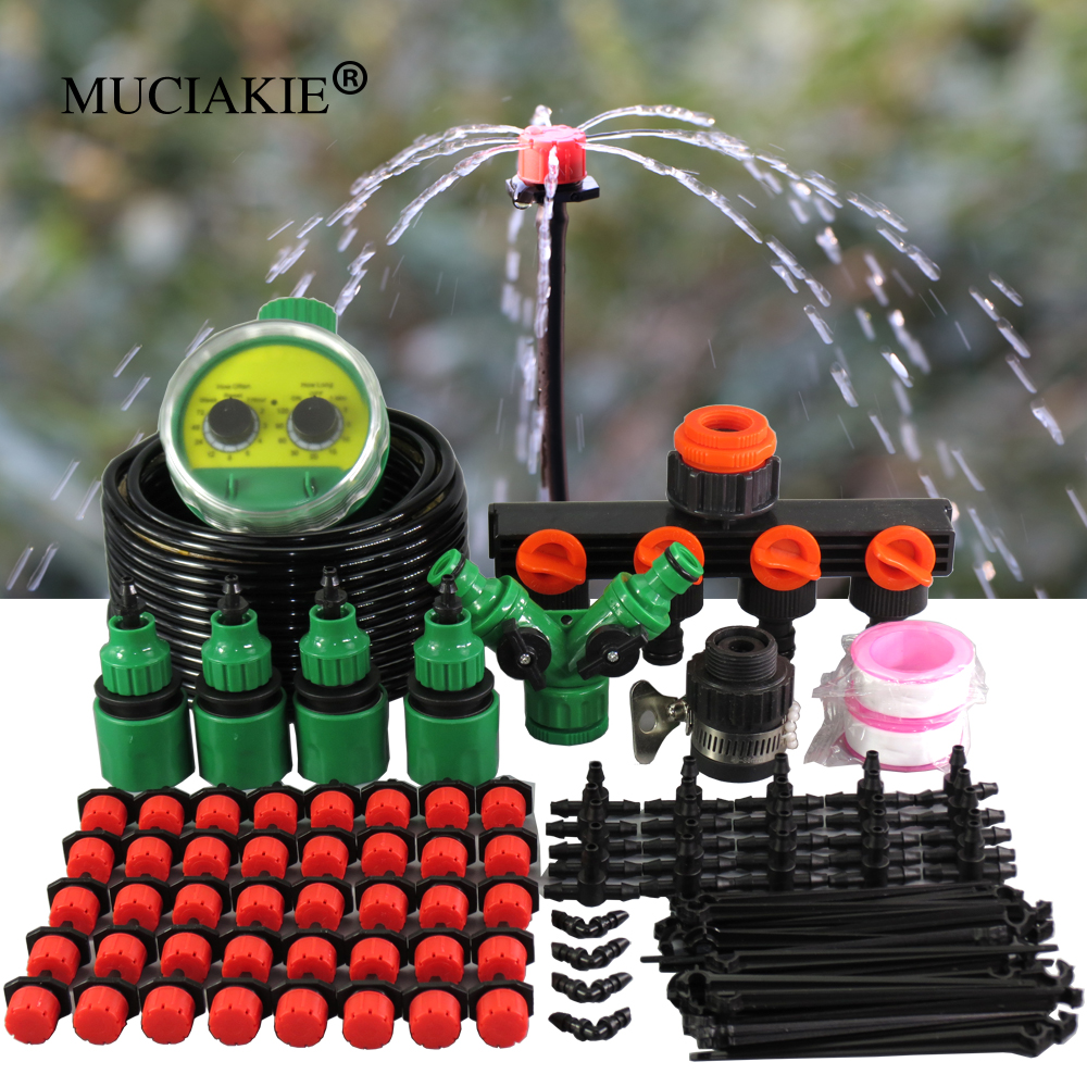 MUCIAKIE 50M DIY Micro Drip Irrigation System Garden Two Dial Automatic Watering Timer Controller Kits With Adjustable Dripper