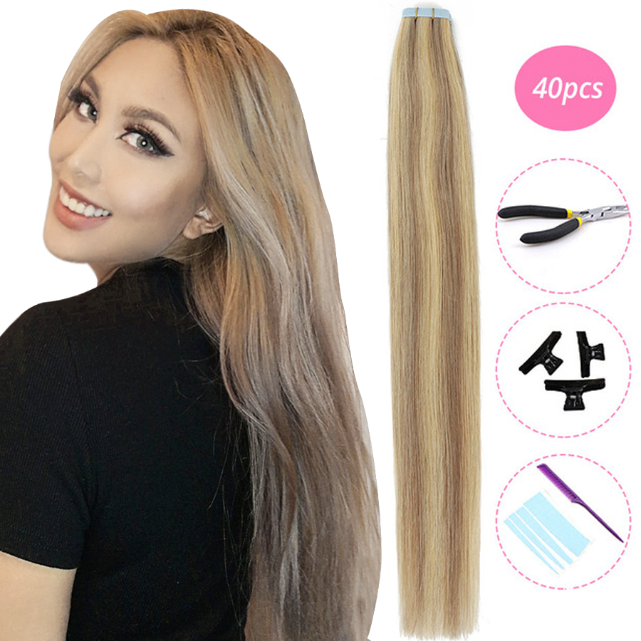 MRSHAIR KITS Tape In Hair Extensions Machine Remy Hair Straight Seamless Skin Weft Double Sided Tape Hair Full Head 20pc 40pc