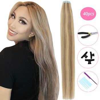 MRSHAIR zestawy taśmy w przedłużanie włosów maszyna Remy włosy prosto bez szwu skóry wątek taśma dwustronna włosy na całą głowę 20pc 40pc tanie i dobre opinie Proste Maszyna Stworzona Remy 2 5g strand Pure color Mongolski włosów Ciemniejszy kolor tylko