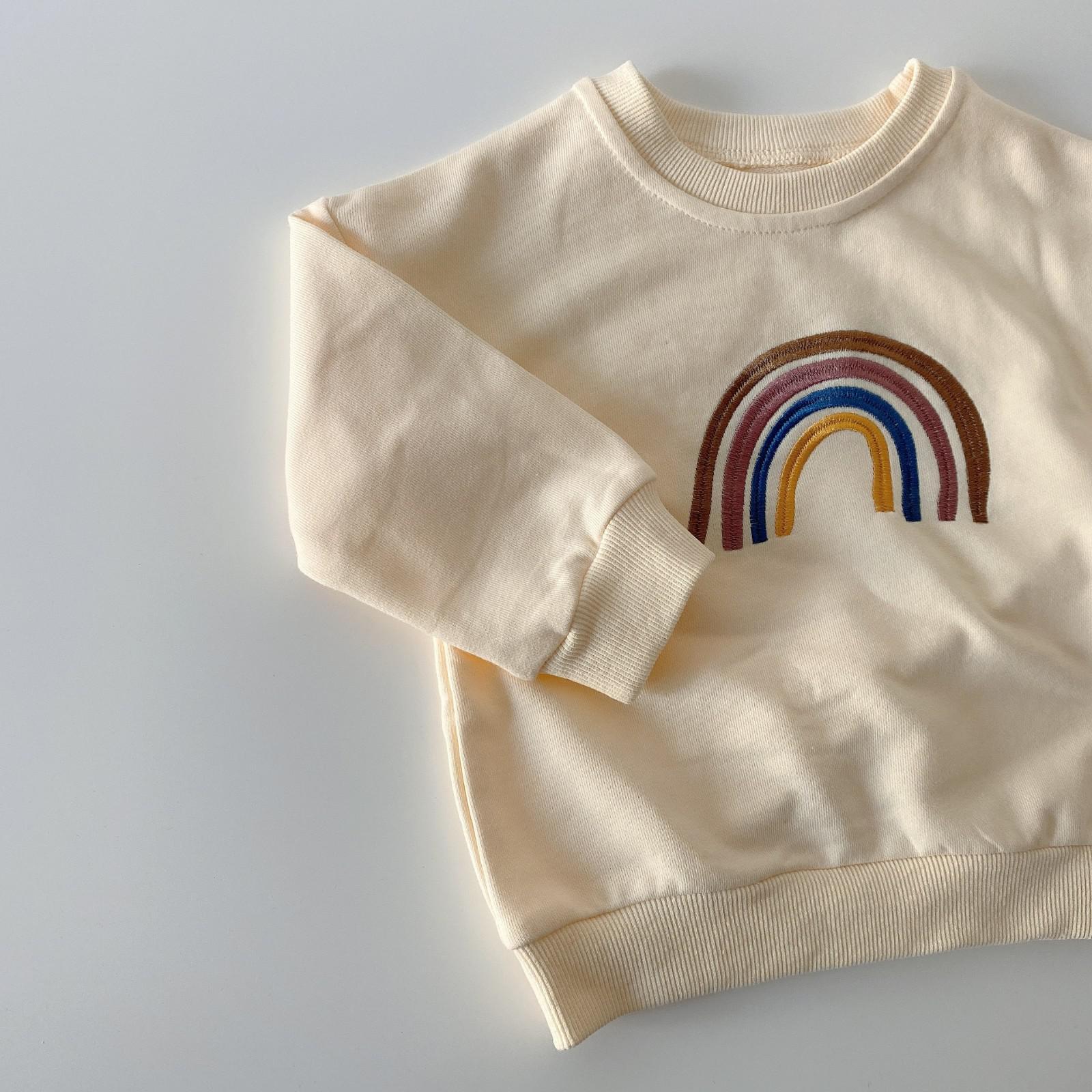 Autumn Baby Girls Embroidery Rainbow Sweatshirts Long Sleeve Tops Kids Toddler Boys Pullover Sweatshirt Rainbow T-shirt Clothes 10
