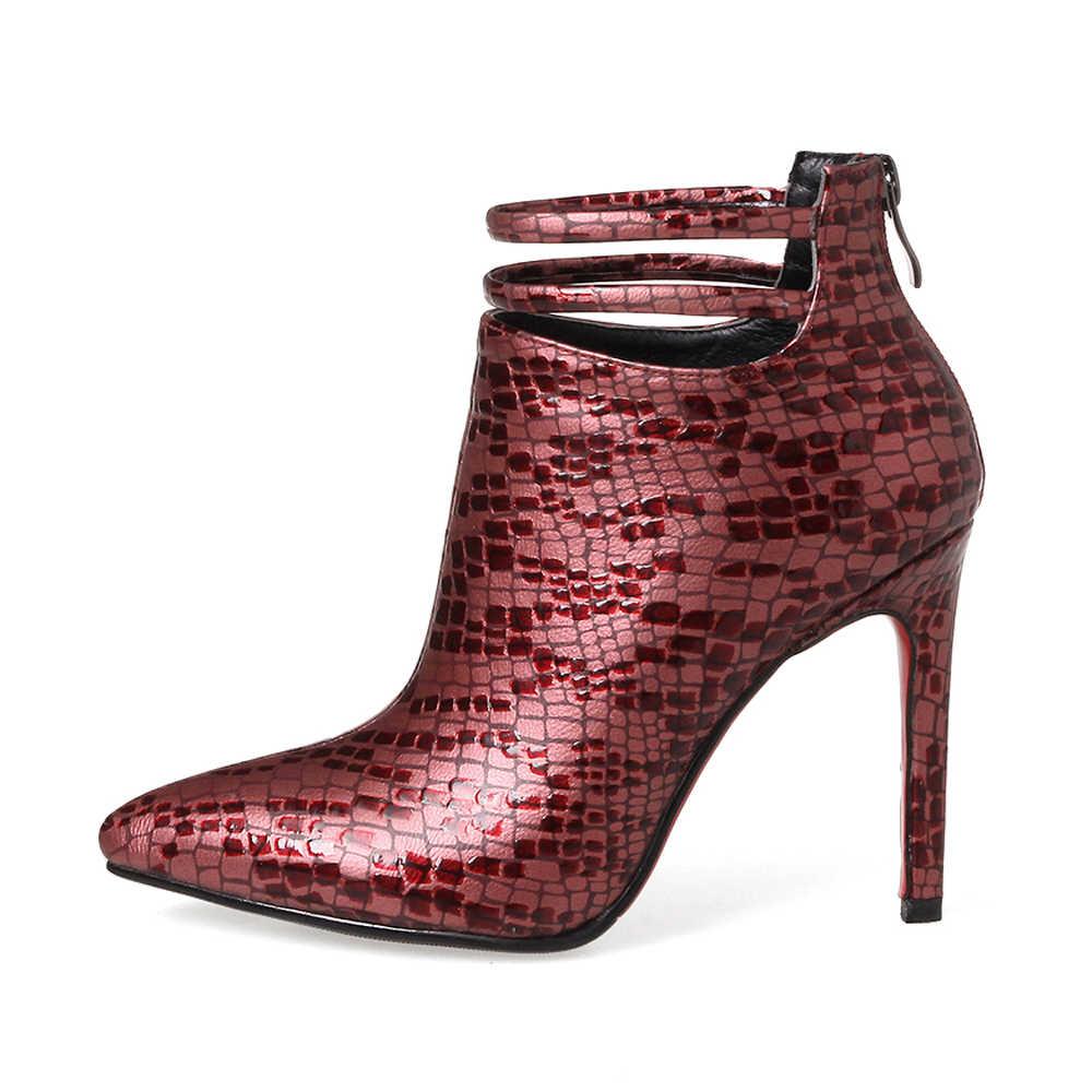 ANNYMOLI femmes printemps bottes Sexy talons hauts bottes boucle talon mince bottes courtes Zip printemps fête chaussures 2018 rouge Chaussure Femme