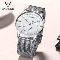 Cadisen relógios masculinos marca de luxo relógio de vidro curvo negócios casual criativo malha cinta quartzo relógio relogio masculino