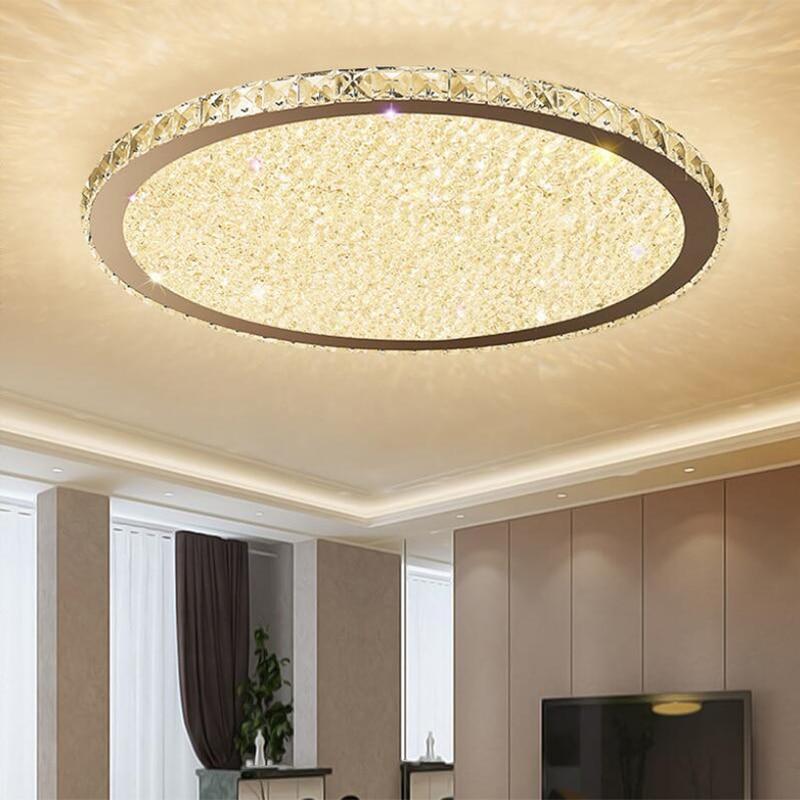Светодиодный потолочный светильник хрустальный светильник Простая Современная круглая домашняя лампа для спальни лампа для гостиной ульт...