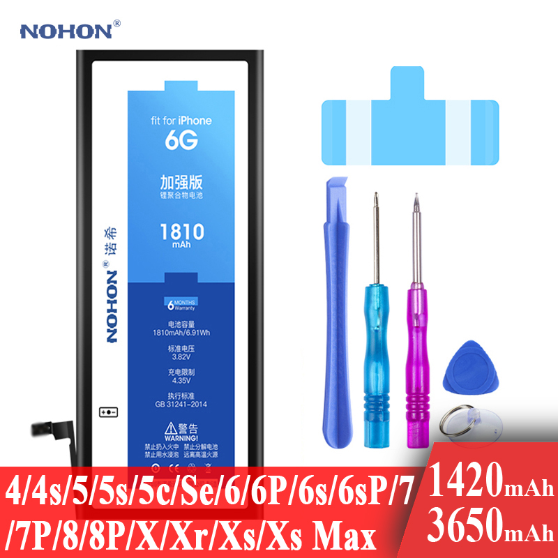 Nohon Battery For Apple iPhone SE 4s 5s 6 6s 7 8 Plus 4 5 5c X Xr Xs Max 6P 6sP 7P 8P  High Capacity Li-polymer Batteries +Tools