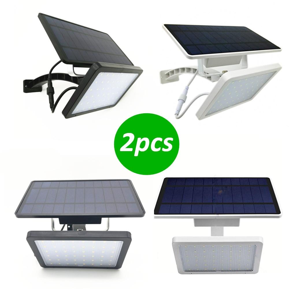 2 pcs luz de parede solar 48led controle luz ao ar livre dupla instalacao a prova