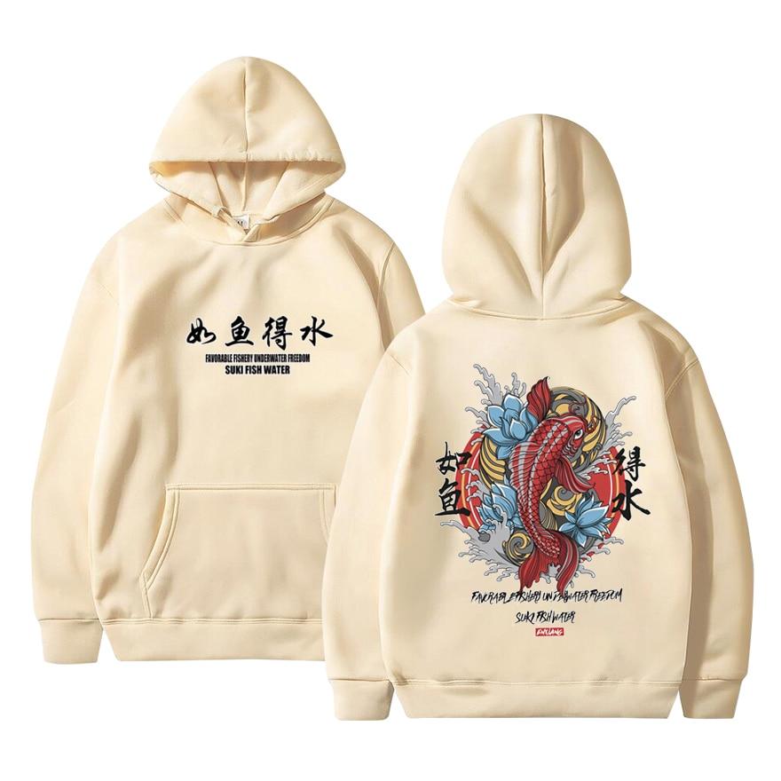 Moda 2020 novo homem legal hip hop com capuz hoodies estilo japonês koi camisolas casuais streetwear masculino/feminino pulôver