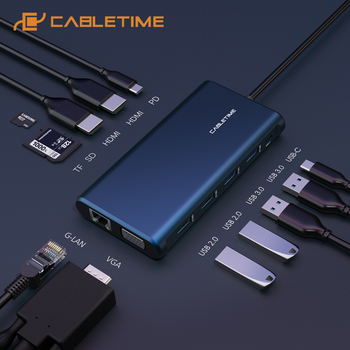 CABLETIME USB C HUB to USB 3.0 2*HDMI PD Charging VGA Card Reader RJ45 USB C Date Transfer Adapter for Huawei Matebook X C258 jinyushi for me909u 521 2pcs antenna usb transfer card 100% new