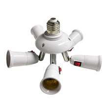 Met Schakelaar 3 In 1/4 In 1/5 In 1 E27 Om E27 Base Socket Splitter Led Light Bulb Lamp Adapter houder(China)