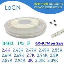 0402 1% 10000 peças smd resistor f 2.4k 2.43k 2.47k 2.49k 2.55k 2.61k 2.67k 2.7k 2.74k 2.8k 2.87k 2.94k 3.01k 3.09k 3k 1005 k k ohm