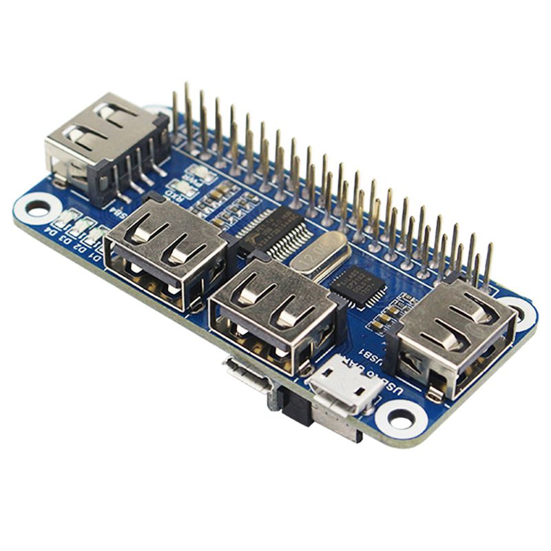 4 Ports USB HUB HAT For Raspberry Pi 3 / 2 / Zero W Extension Board USB To UART For Serial Debugging Compatible With USB2.0/1.1