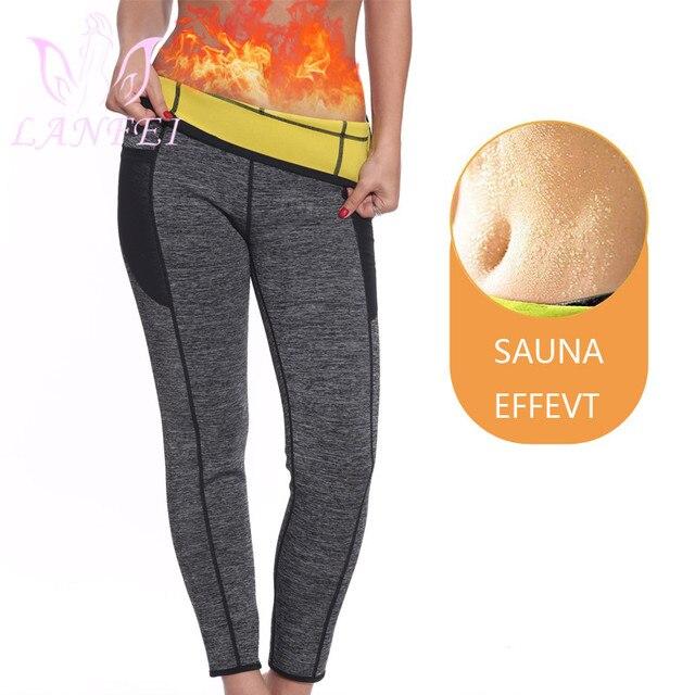 LANFEI נשים Neoprene סאונה הרזיה מכנסיים חם תרמו זיעה גוף Shaper קאפרי מותניים מאמן משקל אובדן חותלות גוזם תחתונים