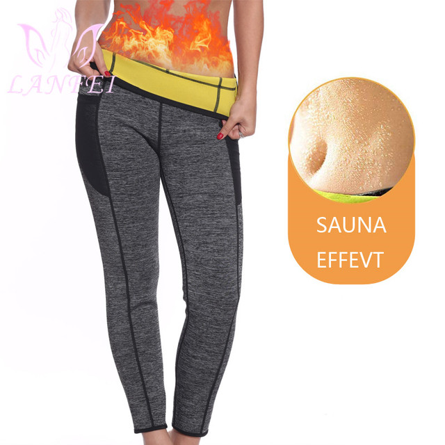 LANFEI Pantalones adelgazantes de neopreno para mujer, moldeador corporal térmico para el sudor, Capri, entrenador de cintura, mallas para pérdida de peso, bragas recortadoras