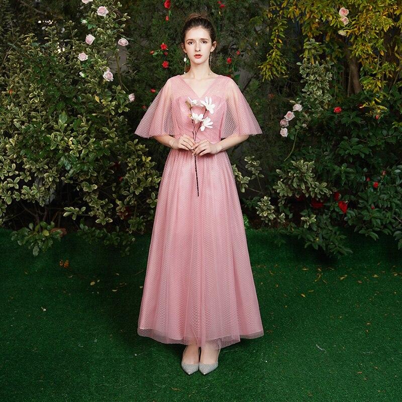 A-Line Pink Burgundy Bridesmaid Dresses Plus Size Tulle Vintage Wedding Dress Party V-neck Sexy Dress Prom Azul Royal Vestido