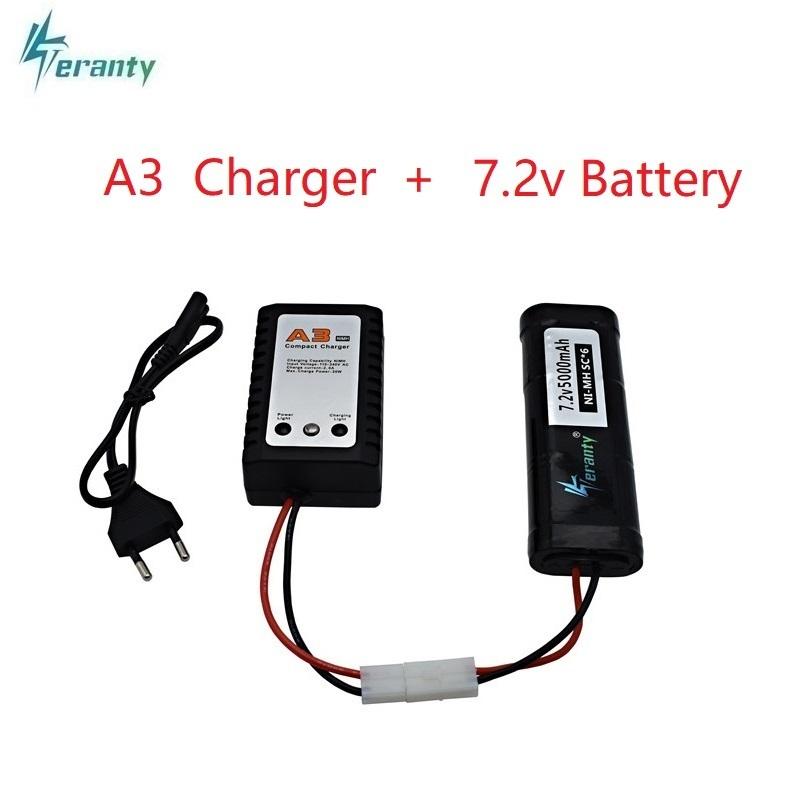 5000mAh <font><b>7.2v</b></font> Rechargeable <font><b>Battery</b></font> and A3 Charger with Tamiya Discharge Connector SC*6 Cells <font><b>7.2v</b></font> <font><b>Ni</b></font>-<font><b>MH</b></font> <font><b>Battery</b></font> for RC Cars Boats image