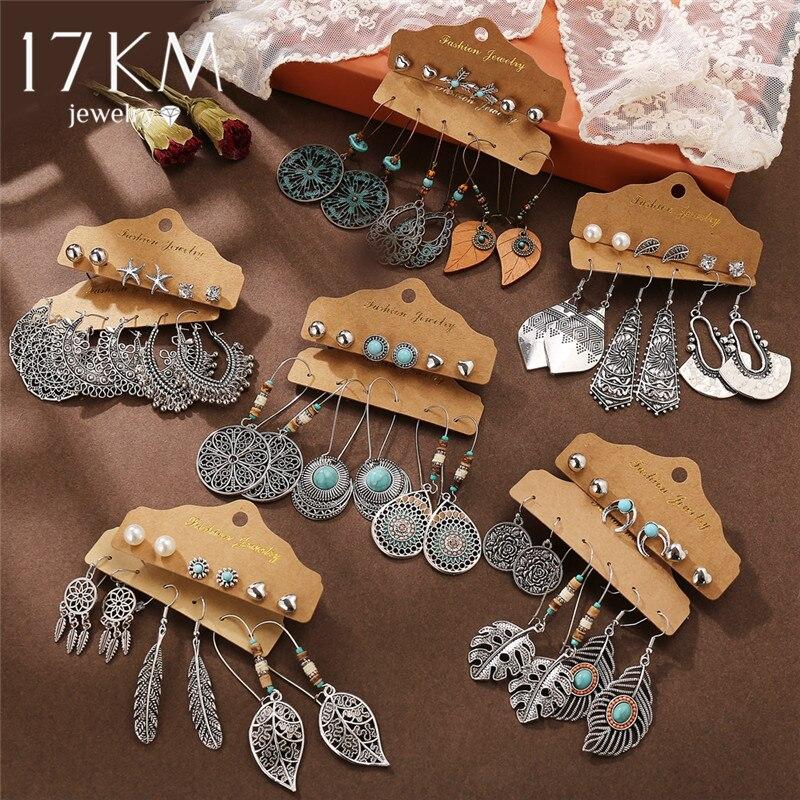 17KM VINTAGE Ethnic Earrings For Women 6Pcs/Set Fashion Fearther Retro Dangle Earring Set 2020 Vintage Acrylic Earrings Jewelry