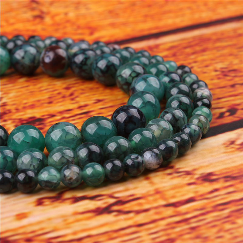 Green Dragon Agate Natural Stone Bead Round Loose Spaced Beads 15 Inch Strand 4/6/8/10/12mm For Jewelry Making DIY Bracelet