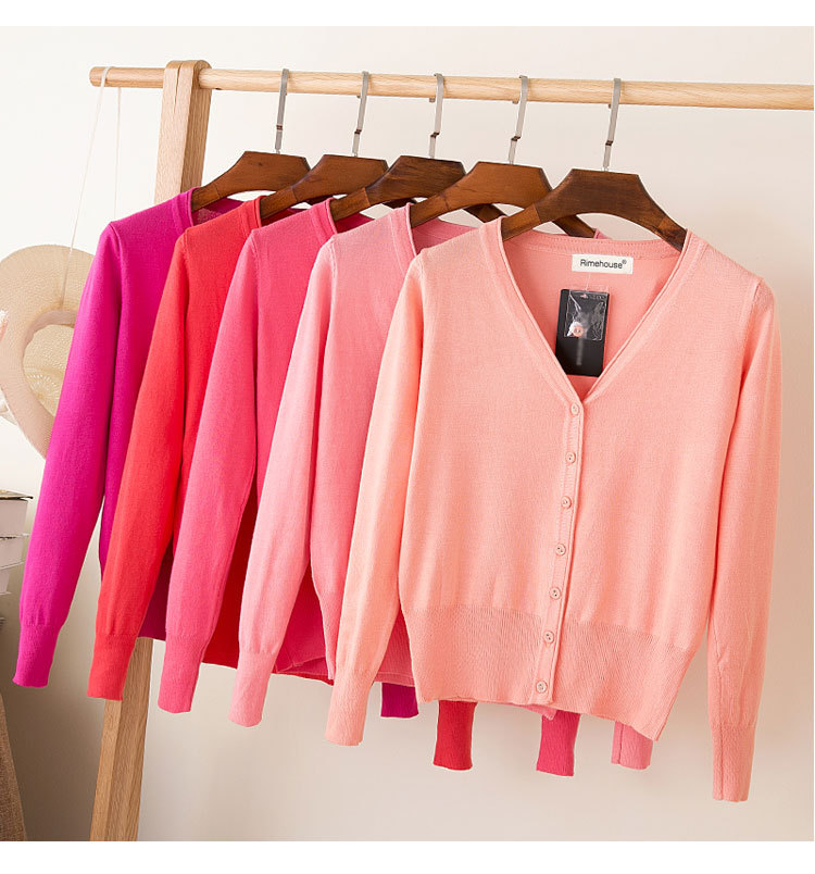 Women Knitted Cardigans Coat Spring & Autumn 2020 Casual Long Sleeve V-neck Crochet Knit Sweater Coat Tops Female 28 Soild Color
