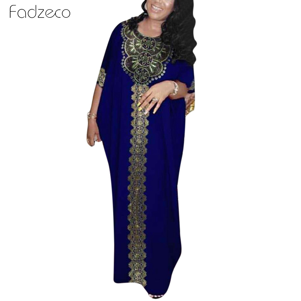 Fadzeco African Traditional Dress Muslim Style Sleeve Robes Round Collar Ethnic Pattern Embroidered Gold Rim Decoration Dress
