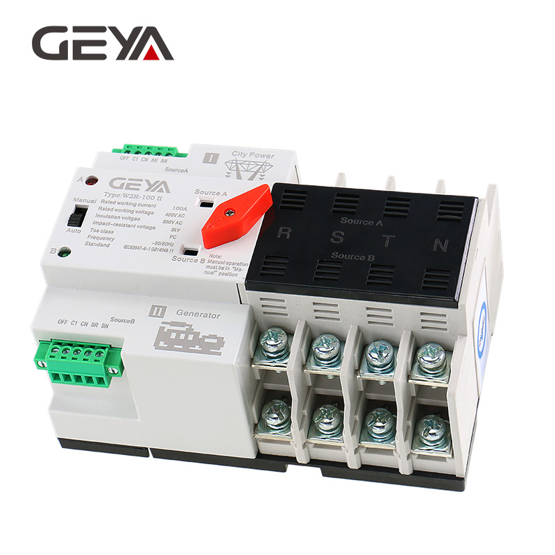 GEYA Din Rail 4P ATS Electric Switch Manual Transfer Switch 110V 220V Coil Max 100A PC Type Switch