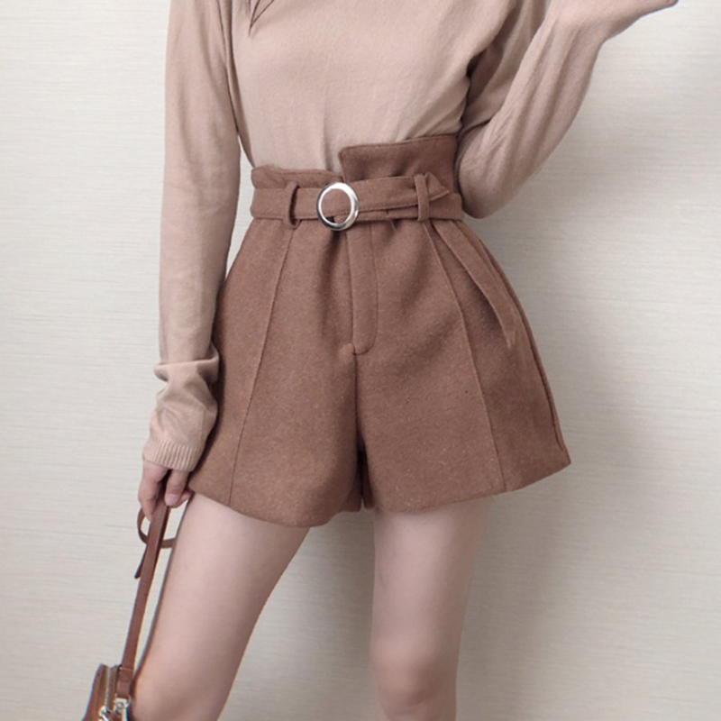Woolen Belt Warm Shorts Women Autumn Winter Thicken Fashion High Waist A-Line Wide Leg Boots Shorts Girls Elegant Short Trousers