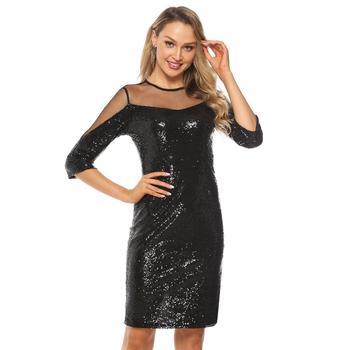 YIDINGZS Elegant Short Evening Dresses Simple Black Sequins Evening Party Dress YD2317 4